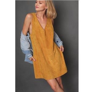 MARI- Faux Suede Pocketed Dress